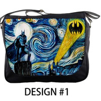 "Van Gogh Starry Night Batman Dr Who Custom 14"" Messenger School Laptop Bag"