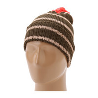 Sperry Top-Sider Wool Blend Striped Watch Cap w/ Contrast Pom Olive - 6pm.com