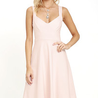 Uptown Twirl Blush Pink Midi Dress