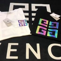 HCXX 19Aug 351 Givenchy Colorful Reflective Logo Short Sleeve T-Shirt