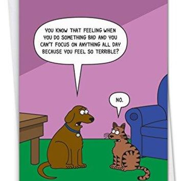 Dog Guilt: Humorous Birthday Card, Funny Birthday Card - Free Shipping