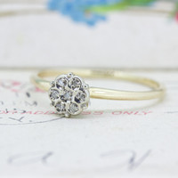 Tiny Diamond Cluster Ring | Dainty Diamond Stacking Ring | Vintage 10k Gold Promise Ring | 1960s Daisy Cluster Cocktail Ring | Size 7