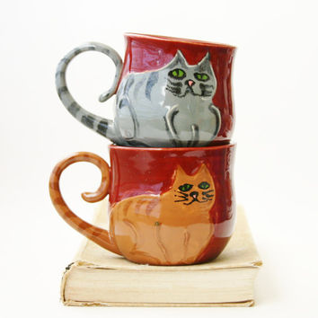 Kitty Cat Mug  Choose Your Color  Hand Thrown by BackBayPottery