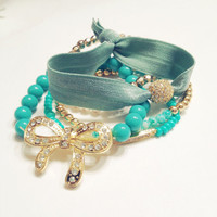 Turquoise and Gold Rhinestone Hair Tie and Arm Candy Bracelet Set of Five Bow Pave Connector DOLLAR SHIPPING in US