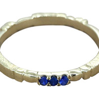 Lovely 14K yellow Gold Stackable Ring,/Sapphires /  handmade /hammered stylish / Asymmetrical ring