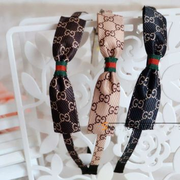 DCCKR2 Gucci Popular Ladies Simple Bow Stylish GG Letter Print Headband Hoop Noble  Headband I