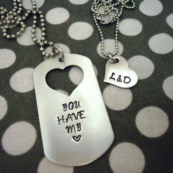 Customizable Personalized Dog Tag Necklace His and Hers Set - Hand Stamped Stainless Steel SHIPPED in 10-14 Days SHIPPING TIME 3-5 Days