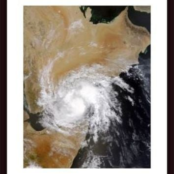 Tropical Storm Three in the northern Indian Ocean., framed black wood, white matte