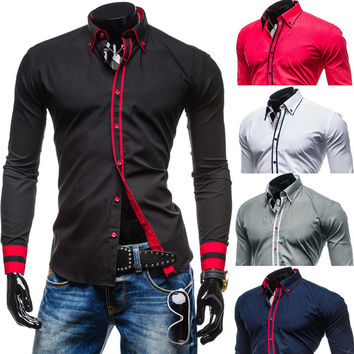New Trim Design Slim Fit Men's Fashion Dress Shirt