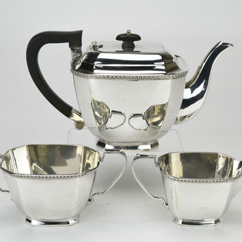 Octagonal Silver Plated Tea Set Teapot Antique English circa 1900