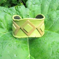 Earth Tones Diamond In the Rough Polymer Clay and Brass Cuff Bracelet