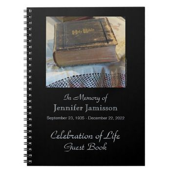 Celebration of Life Guest Book, Vintage Bible Notebook