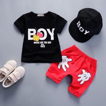 fashion boys clothing set kids 2018 new tracksuit clothes cartoon 2pcs suits boys cotton sports set summer clothes for baby boys