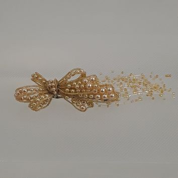 Gold Bow Hair Clip with Beads & Pearls