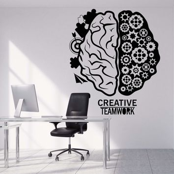 Vinyl Wall Decal Brain Teamwork Gear Creative Office Decor Stickers Unique Gift (1317ig)