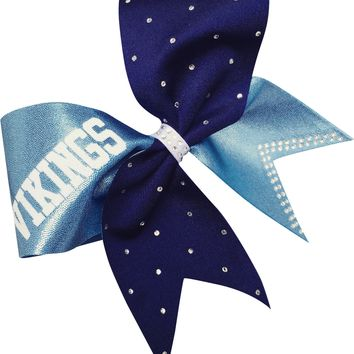 Carolina blue and navy bow with rhinestones and your team name.