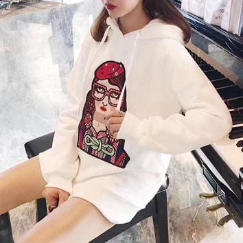 ESBON Gucci' Casual Fashion Cartoon Glasses Girl Pattern Embroidery Long Sleeve Hooded Sweater Tops Women Hoodie