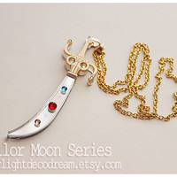 Sailor Uranus Space Sword Talisman Necklace Sailor Moon Inspired Acrylic Fanart for Mahou Kei and Magical Girl Lover Fashion