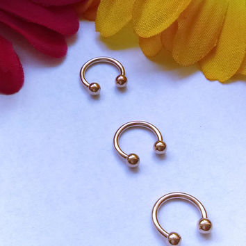 16g Small Tiny Rose Gold Septum Ring Horseshoe Ring 316lvm Surgical Steel Smiley Piercing Lip Piercing Nipple Piercing
