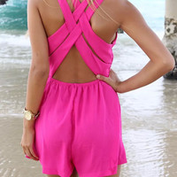 Plunging Neck Cross Back Rompers