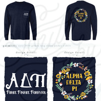 95926 ADPi Floral Wreath Navy Gildan Long Sleeve Pocket