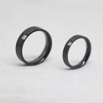 2pcs-Free Engraving,black Ring, Frosted Ring,promise ring,couple Rings, Lovers rings