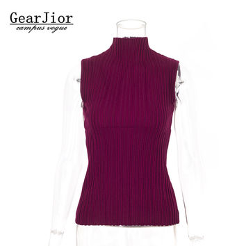 2017 new hot sale women's spring summer stand collar knit vest pullovers woman knit elastic sweaters sleeveless 7 colors