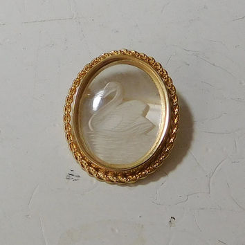Victorian Cameo Swan Brooch Reverse Etched Carved Cameo Gold Tone Victorian Era Carved Glass Domed