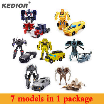 New Hot 7pcs Hero Toy Hero Transformation Robot Cars Deformation Robot action figures Toys gift for boy