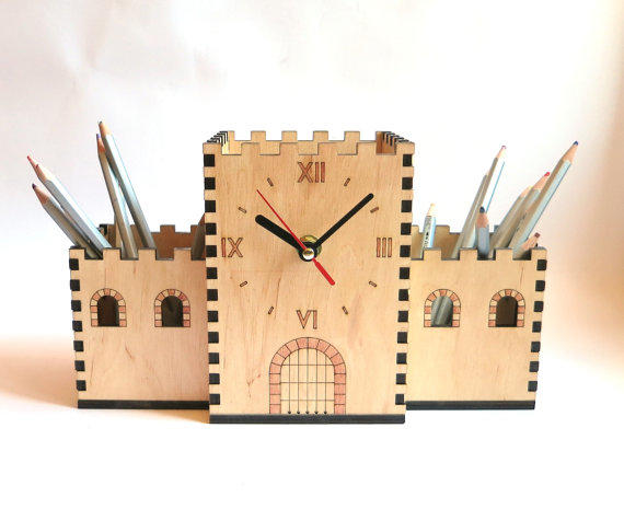 Desk Organizer With Clock Wooden Pencil From Oladiclock