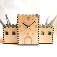Desk organizer with clock, Wooden Pencil Holder, Laser Cut House Pencil Holder, Gift ideas