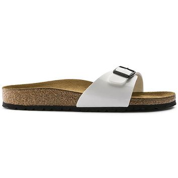 Birkenstock Madrid Birko Flor Patent Patent White 240863 Sandals - Ready Stock