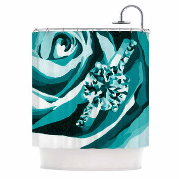 "Nl Designs ""Happy Engagement Tiffany"" Teal White Shower Curtain"