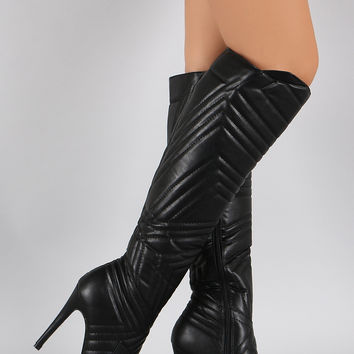 Liliana Quilted Patterned Stitch Pointy Toe Stiletto Boots