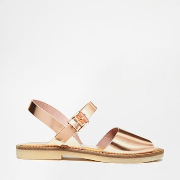 ALDO Roncari Rose Gold Leather Flat Sandals