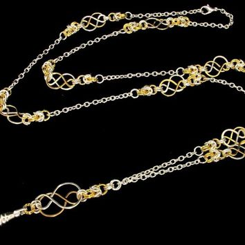Lanyard Necklace with Celtic Knots and Byzantine in Two Tone