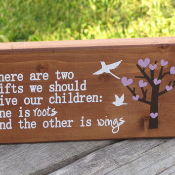 Wood Sign, Baby decor. Roots and Wings. Nursery decor. Wall sign. Star. Baby Shower gift. Baby gift. Wooden plaque. Childrens room