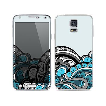 The Abstract Black & Blue Paisley Waves Skin For the Samsung Galaxy S5