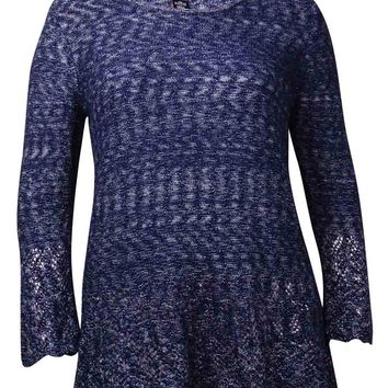 Style & Co. Women's Long Sleeve Crochet Tunic Sweater