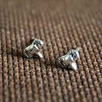 Tiny Silver Cow Skull Earrings // Bull Skull Studs // Longhorn post Earrings // Minimalistic Jewelry // Buffalo skull studs // animal skull