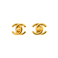 Chanel Vintage Mini Turn Lock CC Clasp Earrings