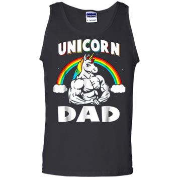Mens Unicorn Dad Rainbow Unicorns Gift Tank Top