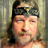 Stag Leather Headpiece, Leather Circlet, Mens Circlet, Yule Crown, Pagan Ritual, LARP, Burning Man, Treasury List