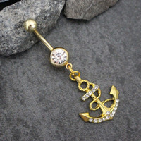 Anchor Belly Button Ring Gold Silver | Nautical Navel Jewelry | Dangle Belly Piercing |Beach Summer Boat Sea Ocean |w/ Ultra Shine Crystals