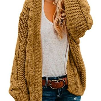 Fashion Khkai Chunky Wide Long Sleeve Knit Cardigan