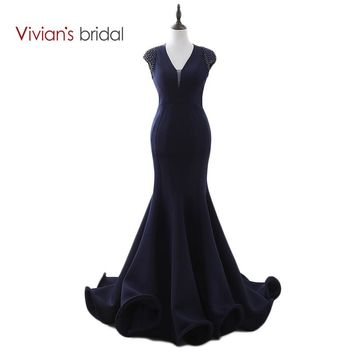 Mermaid Evening Dress Cap Sleeve Formal Dress For Evening Party Backless Prom Dress Ruched Train