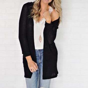 * Sonoma Thermal Knit Cardigan With Criss Cross Back Detail : Black