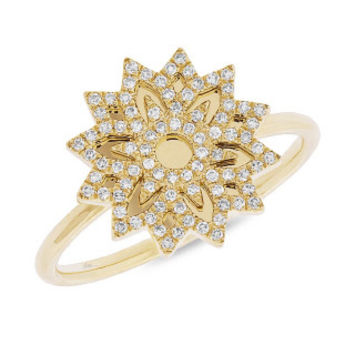 0.19ct 14k Yellow Gold Diamond Snowflake Lady's Ring