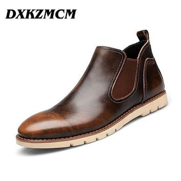2016 Leather Men Boots Brand Men Ankle Boots Casual Genuine Leather Design Cowboy Boots Men Shoes
