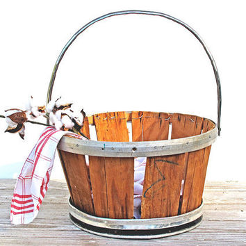Vintage Metal and Wood Farm Basket - Silver and Black - Hand Made